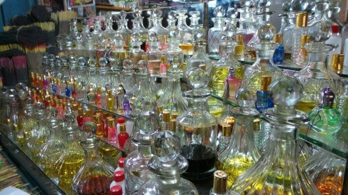 Perfume bottles at the market.