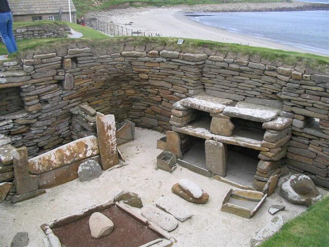 stone house at Skara Brae Orkney Scotland by MJ Richardson