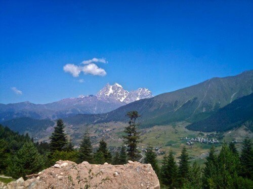 Mount Ushba - one of the highest mountains in this part of the Caucasus Mountains.