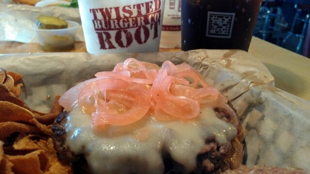 A Twisted Root burger in downtown Arlington TX (photo by Sheila Scarborough)