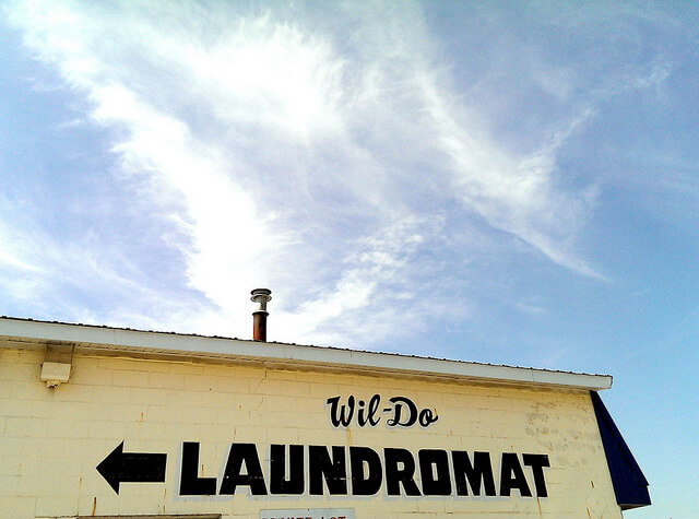 A can-do spirit in Perry, Iowa even at the laundromat (photo by Sheila Scarborough)
