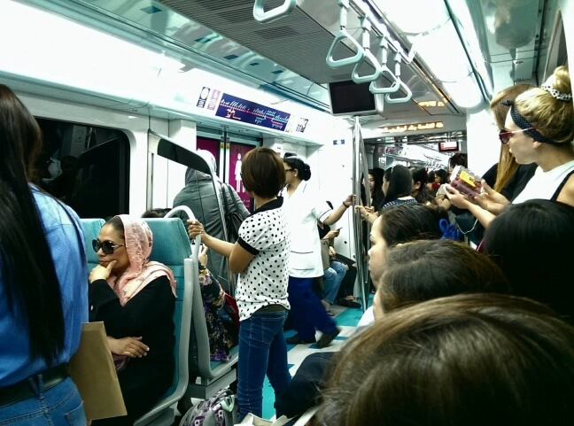 Budget Dubai - A female-only car for women on the Dubai Metro (photo by Sheila Scarborough)
