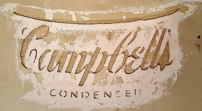 A stencil for Andy Warhol Crushed Campbell's Soup Can painting 1962 (photo taken by Sheila Scarborough at Warhol Museum)