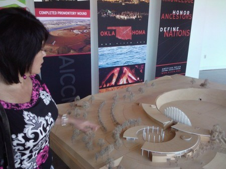 Scale model of AICCM, with staff member Debbie Lindsey (photo by Sheila Scarborough)