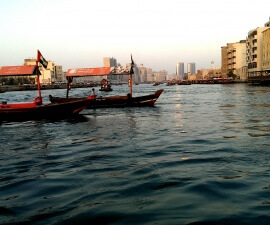 Dubai on a budget - abra boats crossing Dubai Creek (photo by Sheila Scarborough)