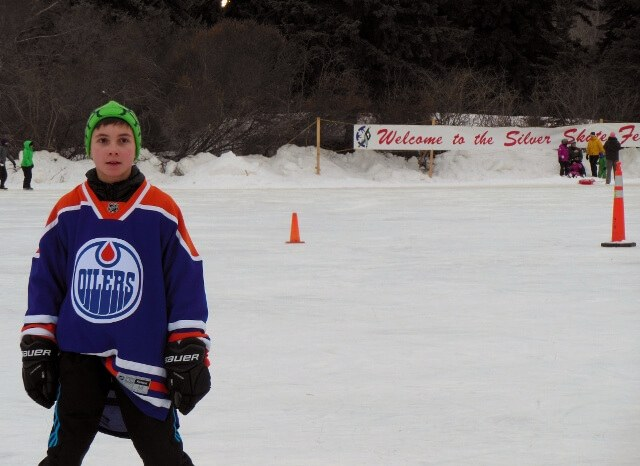 An Oilers fan at Edmonton's Silver Skate Festival (photo by Sheila Scarborough)