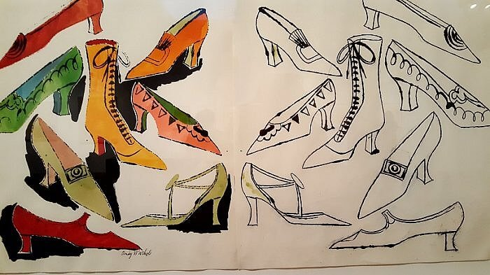 Andy Warhol Eight Shoes commercial illustration work for I. Miller shoe marketing campaign 1950s (photo taken by Sheila Scarborough at Warhol Museum)