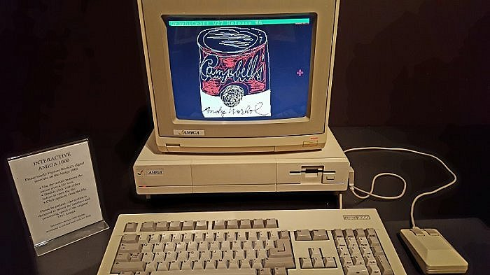 Andy Warhol experiments with the Amiga and art on personal computers (photo by Sheila Scarborough)