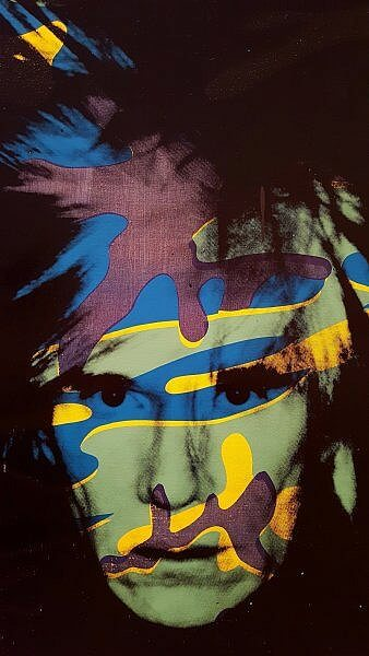 Andy Warhol self-portrait with camouflage at Warhol Museum Pittsburgh (photo by Sheila Scarborough)