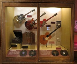 Guitars on display in the BB King Museum in Indianola, Mississippi