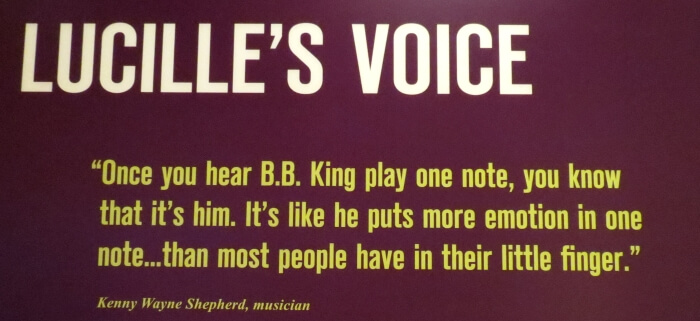 Sign in the BB King Museum in Indianola, Mississippi