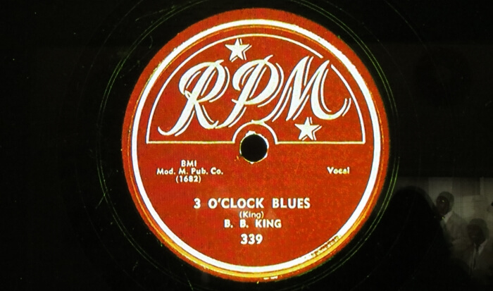 The record label for BB King's first big hit, 3 O'Clock Blues, in the BB King Museum in Indianola, Mississippi