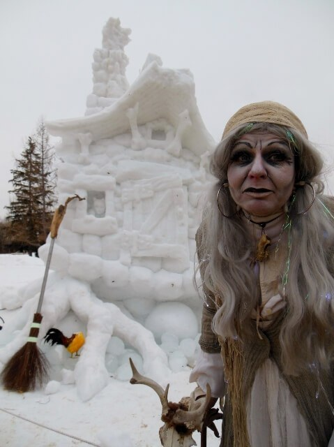 Baba Yaga and her snow house at Edmonton's Silver Skate winter festival (photo by Sheila Scarborough)