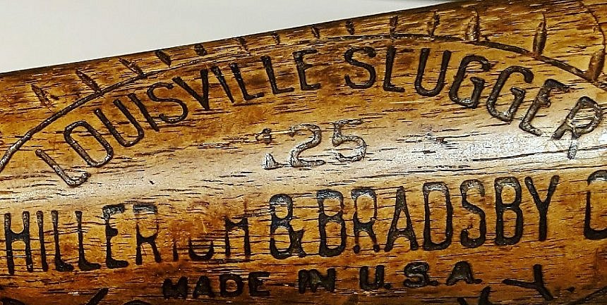 Babe Ruth 1927 Louisville Slugger bat detail at Louisville Slugger Museum and Factory (photo by Sheila Scarborough)
