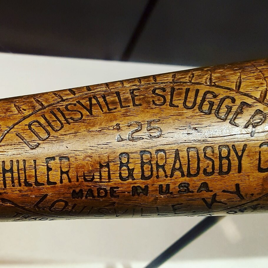 Babe Ruth 1927 Louisville Slugger bat detail (photo by Sheila Scarborough)