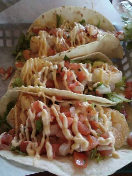 Baja Shrimp Tacos at Surfside Sandwich Shoppe N Padre Island TX (photo by Sheila Scarborough)