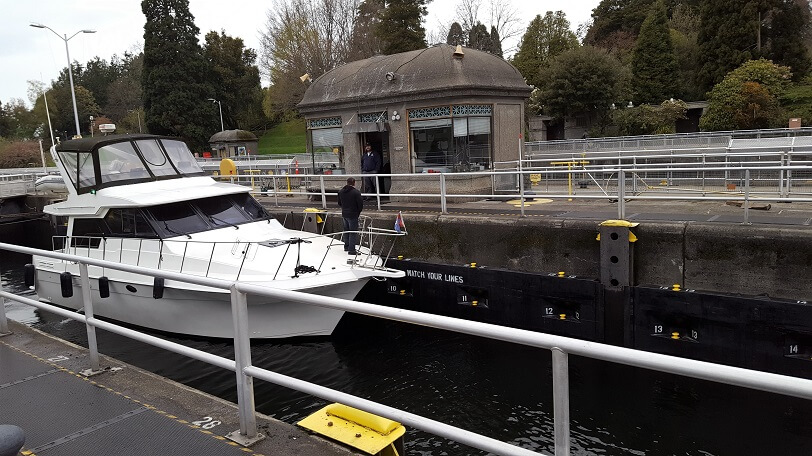 Ballard Locks Seattle boat in the lock (photo by Sheila Scarborough)