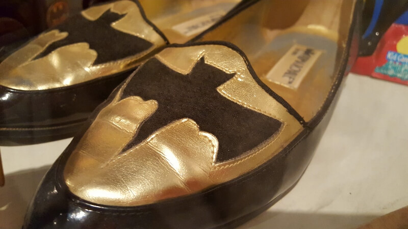 Batman slippers at Toy & Action Figure Museum Pauls Valley OK (photo by Sheila Scarborough)
