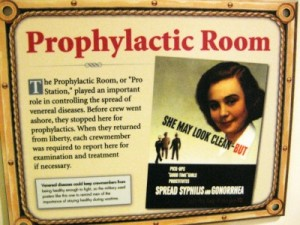 Battleship Texas Prophylactic Room sign (photo by Sheila Scarborough)