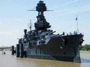 Battleship Texas berthed in La Porte, TX (photo by Sheila Scarborough)