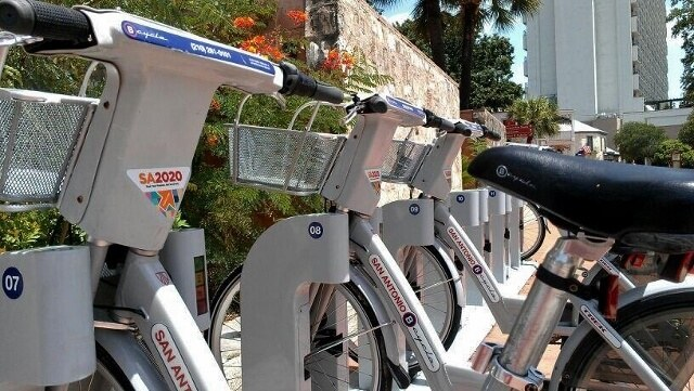 B-cycle public bikes at La Villita Historic Arts Village San Antonio (photo by Sheila Scarborough)
