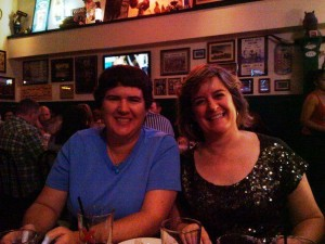 My business partner Becky McCray and I at a BlogWorld dinner 2010