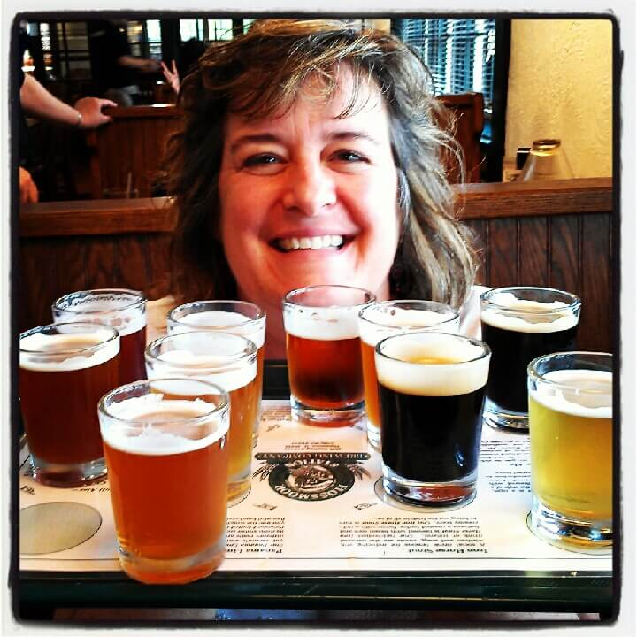 Beer flight at Flossmoor Station Restaurant and Brewery just outside Chicago, Illinois