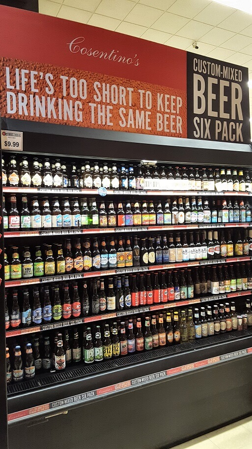 Craft beer selection at Cosentinos Market downtown Kansas City MO (photo by Sheila Scarborough)
