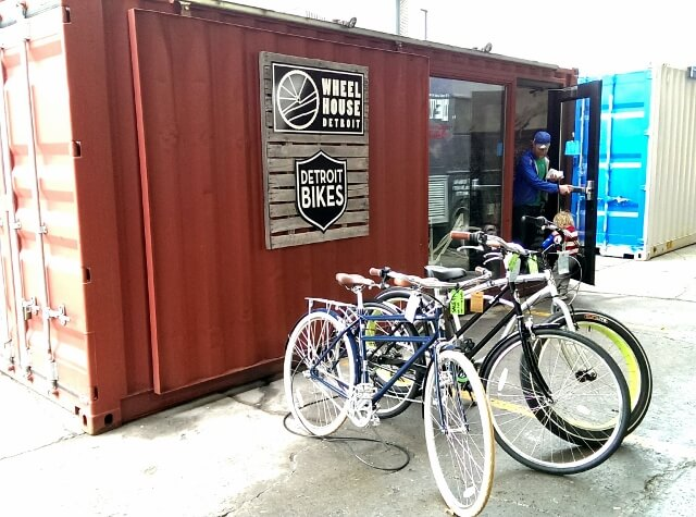 Wheelhouse bike shop in a shipping container at Detroit's Eastern Market (photo by Sheila Scarborough)