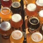 Flight of beer at the Compass Brewing Company sampled on a bike tour in Breckenridge in Colorado's Rocky Muntains