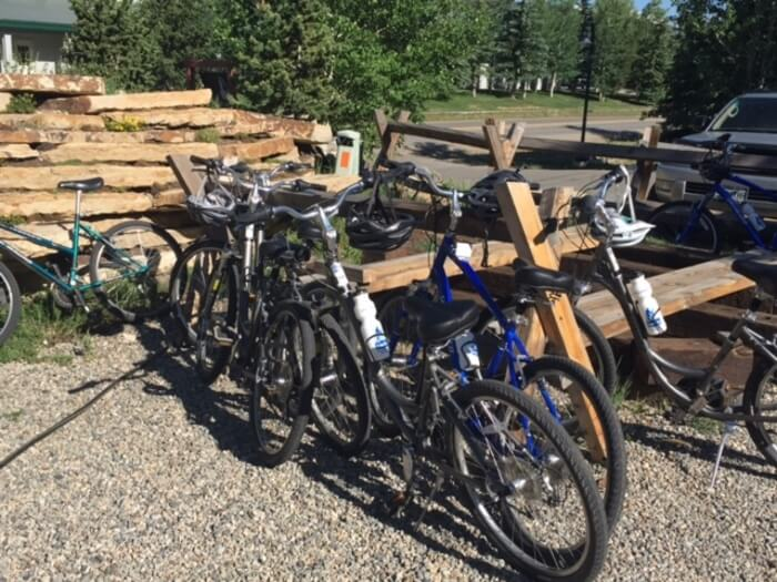 Bikes outside the Compass Brewing Company visited on a bike tour in Breckenridge in Colorado's Rocky Muntains