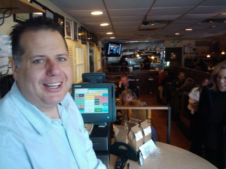 Owner Billy Kounoupis greets breakfast patrons at Billy's Downtown Diner in Bethlehem PA (photo by Sheila Scarborough)