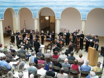 Blanton Museum of Art Bach Cantata Project singing the chorus in the atrium (photo by Sheila Scarborough)