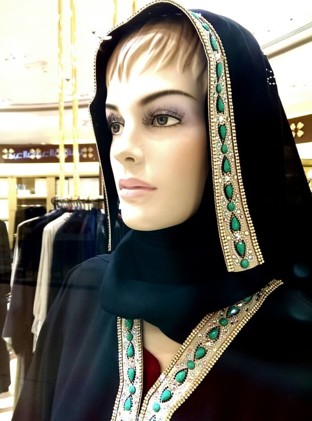 Dubai on a budget - window gaze about how to bling out your hijab at a shop in the Deira City Centre mall in Dubai (photo by Sheila Scarborough)