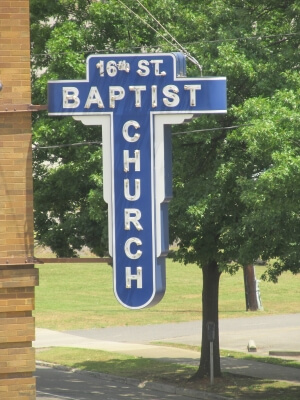 Sign for the 16th Street Baptist Church, site of the 1963 bomb in Birmingham