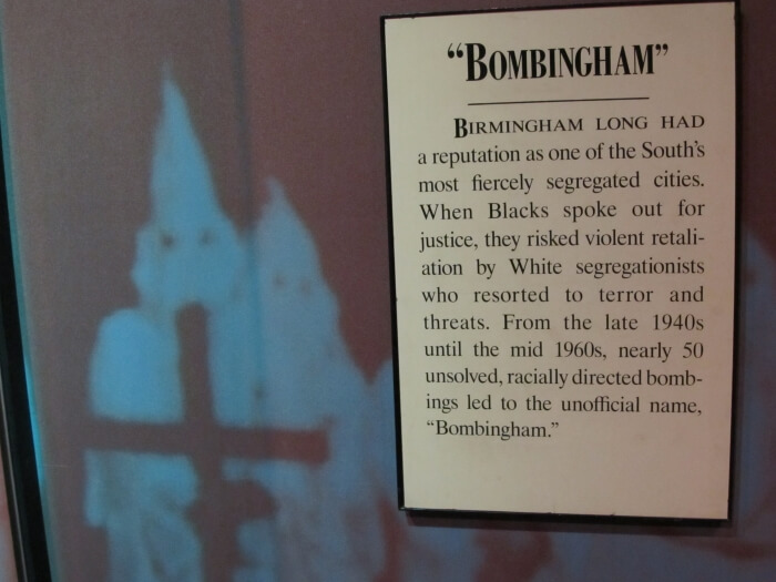 Display in the Birmingham Civil Rights Institute, from A Bomb in Birmingham