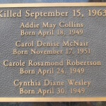 Memorial plaque outside the 16th Street Baptist Church, scene of the 1963 bomb in Birmingham, Alabama