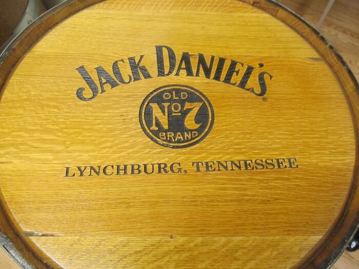 A Jack Daniel's barrel at the Brown-Forman Cooperage in Louisville, Kentucky