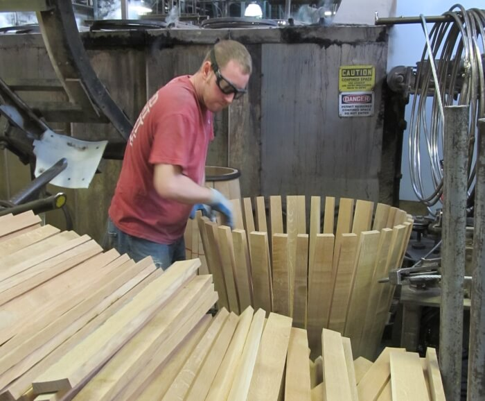 Making barrels at the Brown-Forman Cooperage in Louisville, Kentucky