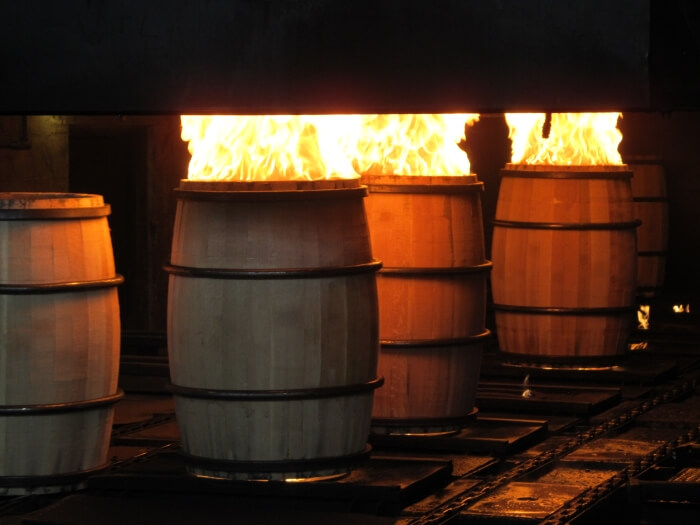 Charring barrels at the Brown-Forman Cooperage in Louisville, Kentucky