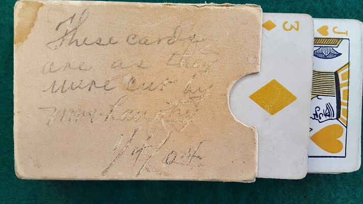 Card deck cut to the Jack of Hearts by Lillie Langtry in January 1904 in Langtry Texas (photo by Sheila Scarborough)