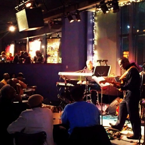 Charles Williams and band play George Duke hits at Kansas City's Blue Room January 2014 (photo by Sheila Scarborough)