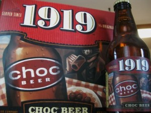 Choc 1919 beer bottle and six-pack box (photo by Sheila Scarborough)