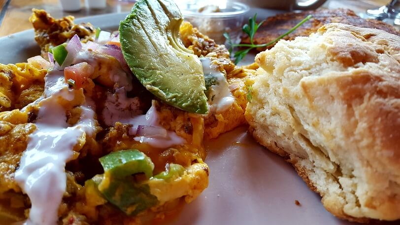 Chorizo Scramble plus biscuit at Noble Barton West Seattle (photo by Sheila Scarborough)