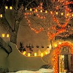 Christmas Lights Farolitos Santa fe New Mexico Las Posadas