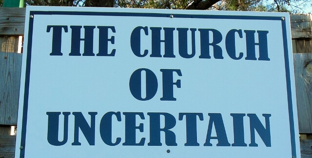 Church of Uncertain sign near Uncertain, Texas (photo by Sheila Scarborough)