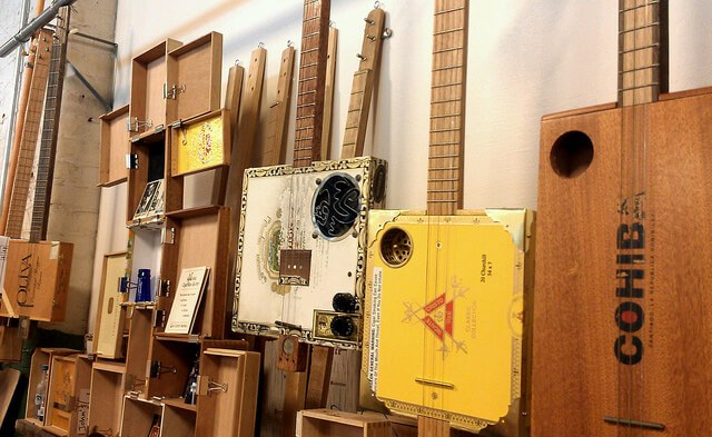 Cigar box guitars on display in Huntsville AL (photo by Sheila Scarborough)