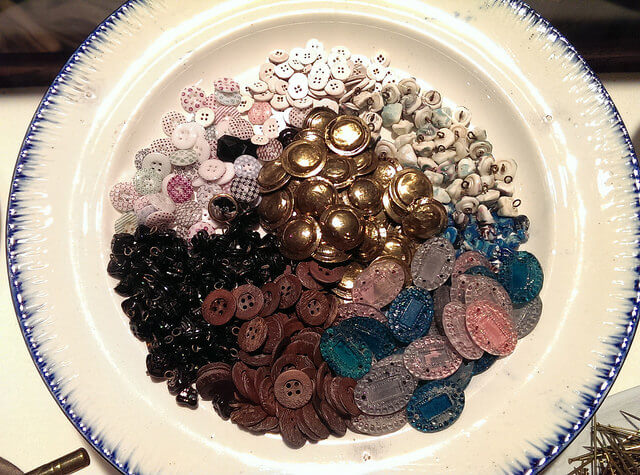 Cleaned up buttons excavated from the Steamboat Arabia cargo (photo by Sheila Scarborough)