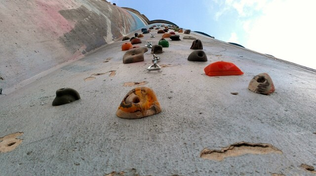 Climb the outside of one of Rocktown's silos in Oklahoma City (photo by Sheila Scarborough)