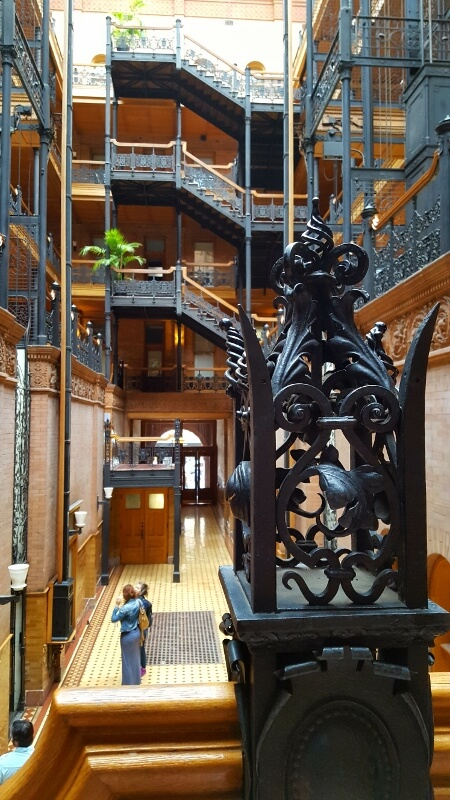 Closeup of one of the iron staircase decorations in the downtown Los Angeles Bradbury Building (photo by Sheila Scarborough)